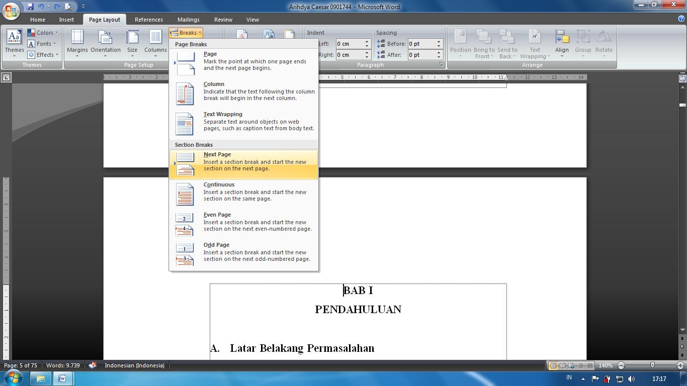 Menyisipkan Format Nomor Halaman Yang Berbeda Dalam Satu File Word
